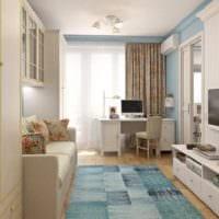 дизайн однокомнатной квартиры в бежево голубых тонах