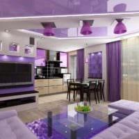 фиолетовый дизайн кухни гостиной