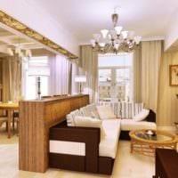 объединение маленькой гостиной с кухней