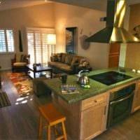 дизайн маленькой гостиной с кухней
