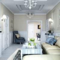 светлый дизайн маленькой гостиной