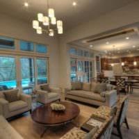 комфортный интерьер гостиной кухни
