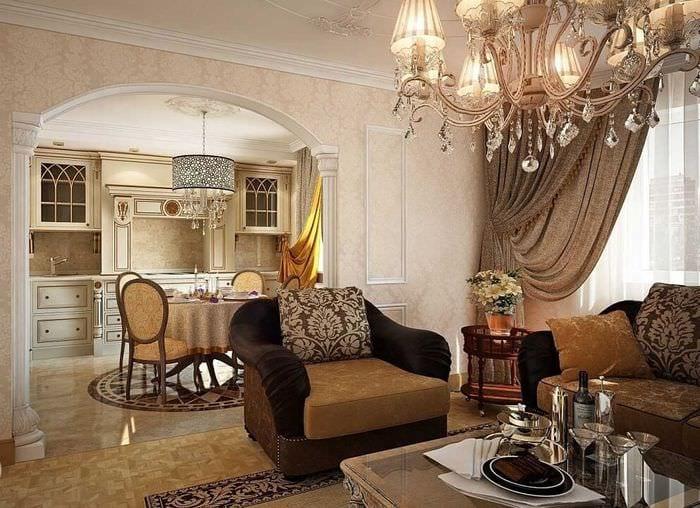 классический стиль кухни гостиной