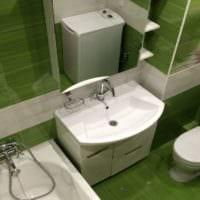 дизайн ванной зеленый лес