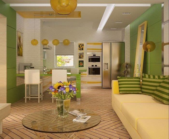 Гостиная-кухня студия дизайн интерьера