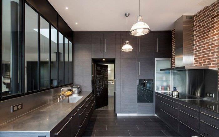 богатый дизайн кухни венге