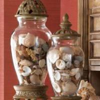 декор из ракушек вазы