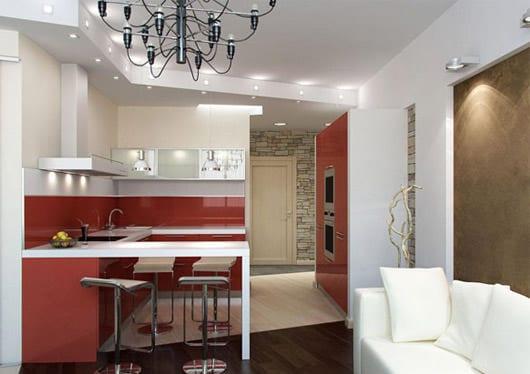 Кухня гостиная с диваном дизайн 12 квм