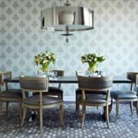 дизайн гостиной с серыми обоями