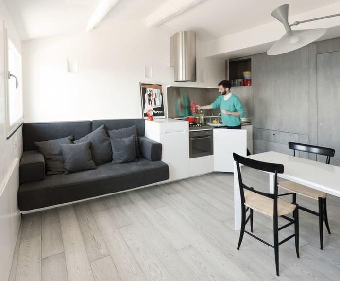 дизайн кухни в квартире студии