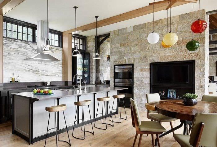 дизайн кухни столовой лофт