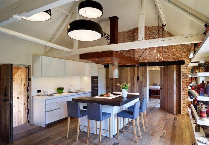 дизайн кухни столовой островной вариант