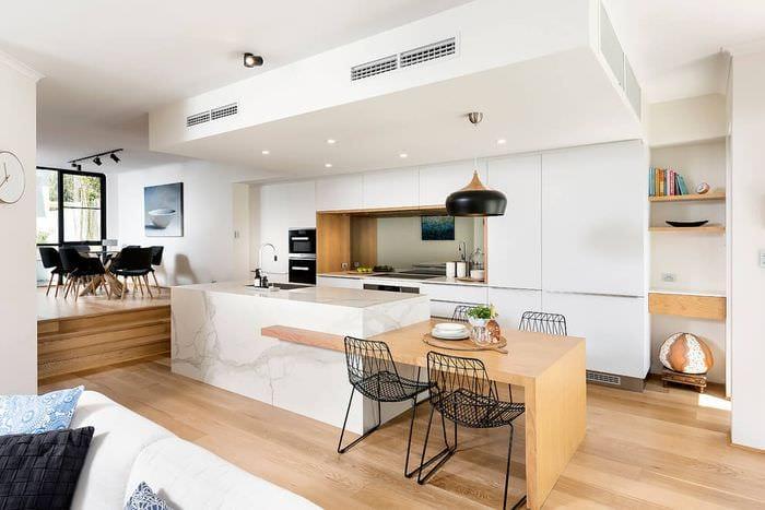 скандинавский дизайн кухни столовой