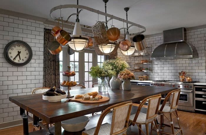 дизайн кухни столовой в стиле лофт