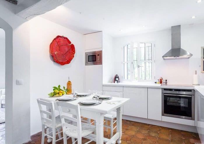 дизайн кухни столовой в светлых тонах