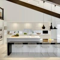 дизайн кухни студии светлый