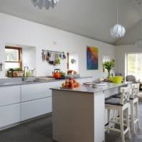 дизайн кухни столовой гостиной в частном доме идеи