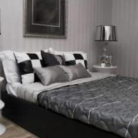 идеи спальни с серыми обоями