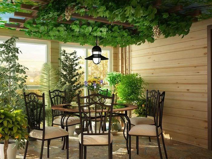 идея использования светлых идей оформления зимнего сада в доме