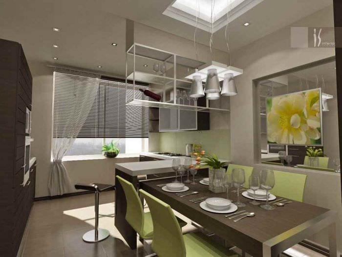 вариант светлого интерьера кухни 13 кв.м
