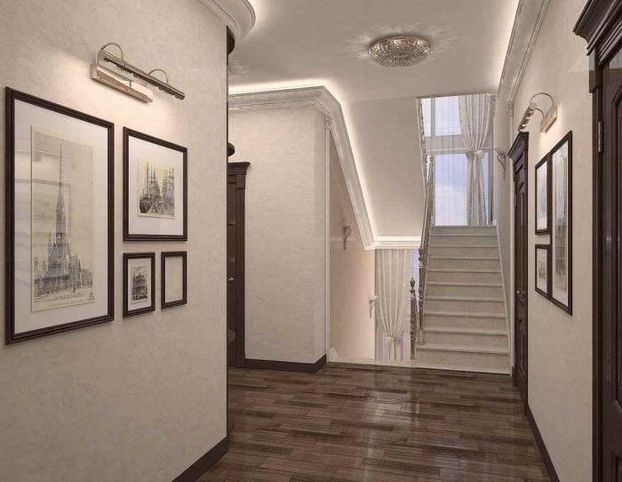 пример необычного дизайна прихожей в частном доме