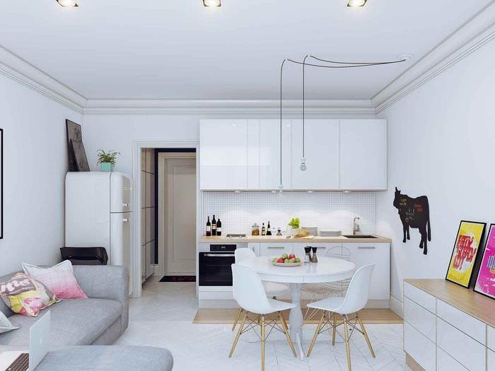 идея необычного интерьера кухни 10 кв.м. серии п 44