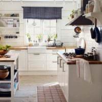 вариант светлого интерьера кухни с газовой колонкой фото