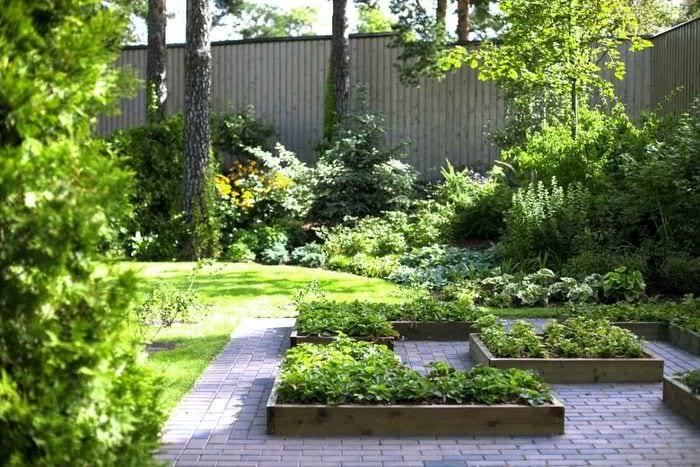 пример яркого декора огорода в частном дворе