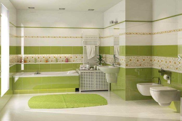 пример необычного интерьера укладки плитки в ванной комнате