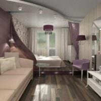 пример светлого декора гостиной спальни фото