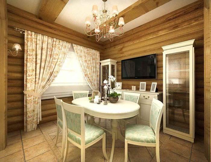 пример красивого интерьера кухни в деревянном доме