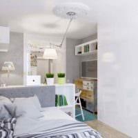 пример светлого интерьера студии 20 кв.м картинка