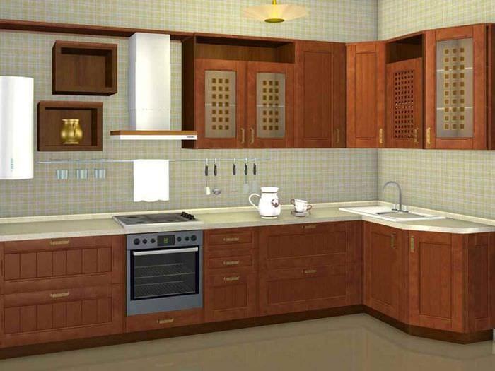 идея красивого стиля кухни с газовой колонкой