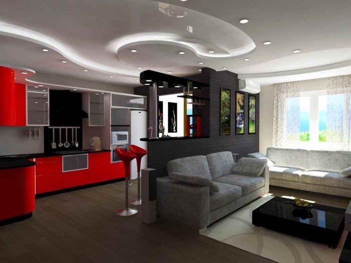 пример красивого стиля квартиры студии 26 квадратных метров