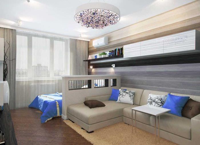 идея яркого стиля гостиной спальни
