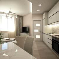 пример яркого дизайна кухни 13 кв.м картинка