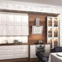 идея яркого дизайна кухни с газовой колонкой фото