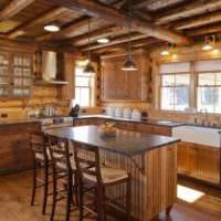 идея яркого дизайна кухни в деревенском стиле фото
