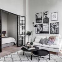 вариант необычного декора гостиной спальни картинка