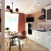 пример светлого дизайна кухни 12 кв.м фото