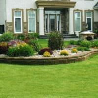 идея красивого декора палисадника в частном дворе фото