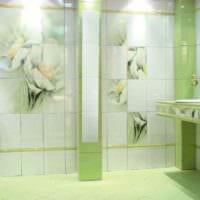 идея светлого декора укладки плитки в ванной комнате фото
