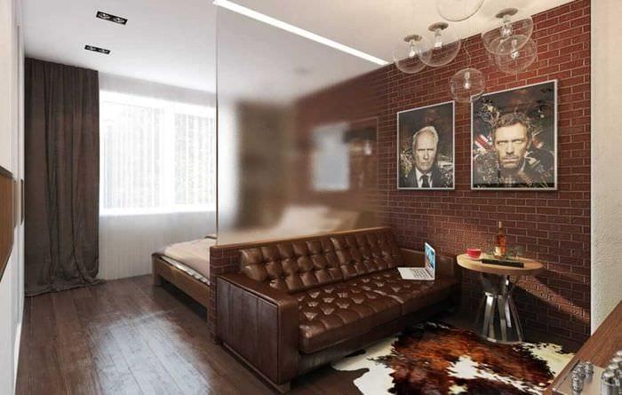 пример светлого дизайна гостиной спальни