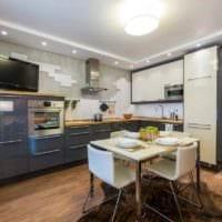 идея светлого интерьера кухни 13 кв.м фото