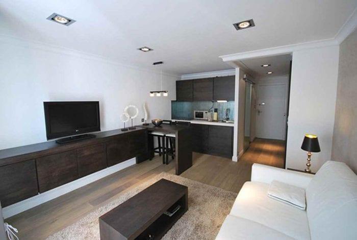 идея необычного интерьера квартиры студии 26 квадратных метров