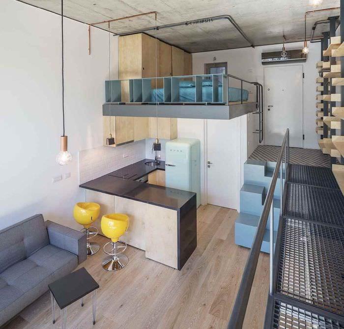 идея красивого интерьера студии 20 кв.м.