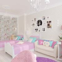 вариант светлого декора детской комнаты для девочки картинка