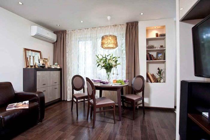 вариант яркого интерьера квартиры студии 26 квадратных метров