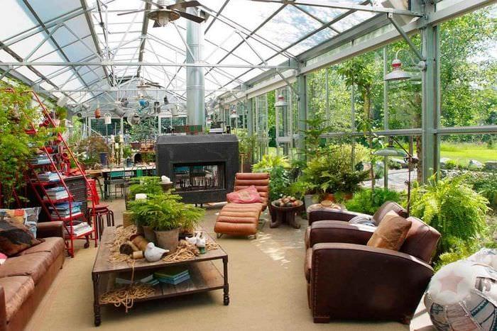 пример использования красивых идей оформления зимнего сада в доме