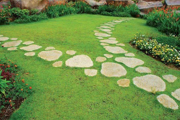 вариант использования красивых садовых дорожек в дизайне двора